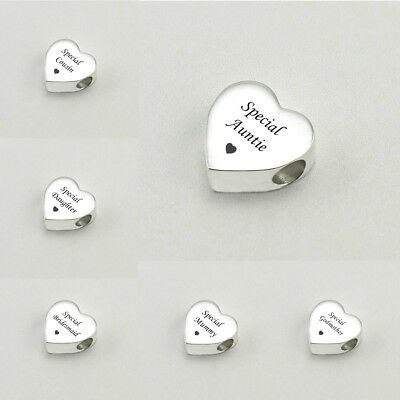 Engraved Heart Charm Beads for European Style Bracelets.