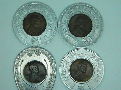 """Lot of 4 Encased Pennies """"Keep Me and Never Go Broke"""" Lucky Penny Advertising"""