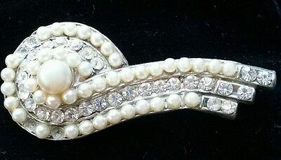 Antique Vintage Costume Jewelry Old brooch scroll pearl diamond pin