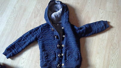 boys m&s winter cable hoodie age 5-6