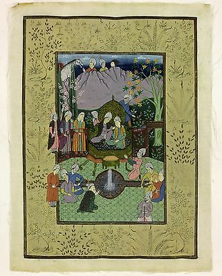 Old Antique 19th? Century Indian Silk Painting Fountain Ceremony Persian Rare