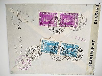 Iran Teheran registered cover to US NYC April 1945 examined by censor