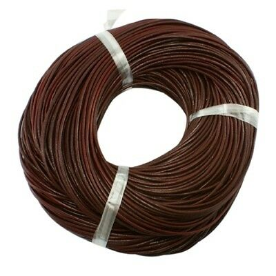 3mm Chocolate Brown AUTHENTIC 100% LEATHER Cord 1M 2M 3M Thong Lace Round