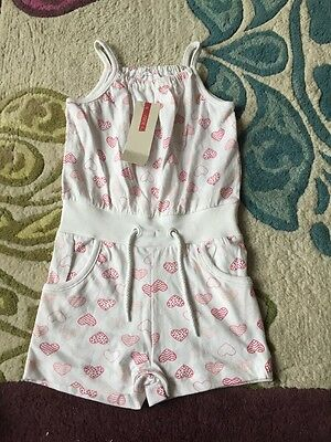 Girls Playsuit 2 3 BNWT White Hearts
