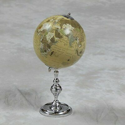 Small Vintage Style Decorative Globe On Nickel Plated Stand