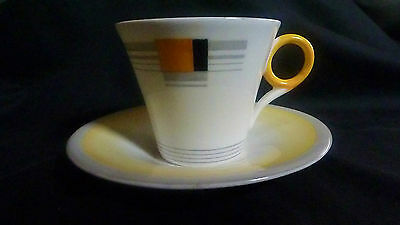 Shelley Art Deco Cup and Saucer Regent Shape  Blocks & Bands Pattern 12128