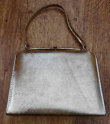 Vintage gold leather Kelly bag Made in England by Alligator 1950s - early 1960s