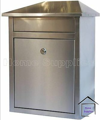 Stainless Steel Large Letter Mail Post Box Exterior Outside Wall-Mounted