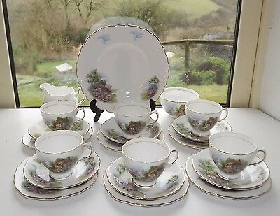 Royal Vale Bone China England 21 Pc Cottage Garden Tea Set Cups Saucers Milk etc