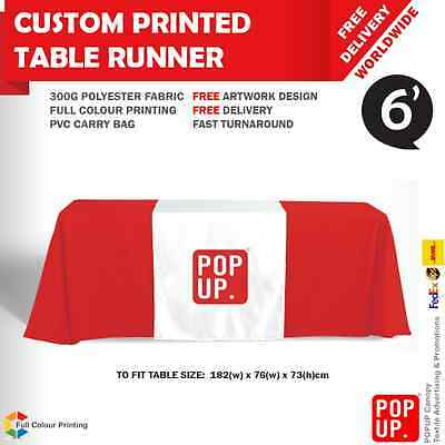 Custom Printed Table Cover Runner 6' Table - 3 Sides Full Colour Printing