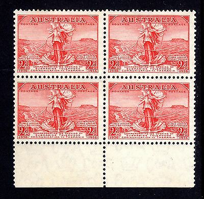 1936 - 2d SCARLET - BLOCK of 4 - CABLE Link to TASMANIA - SUPERB - MUH/MLH