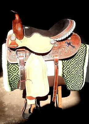 "16""western tack pleasure leather horse barrel saddle headstall breastplate cowbo"