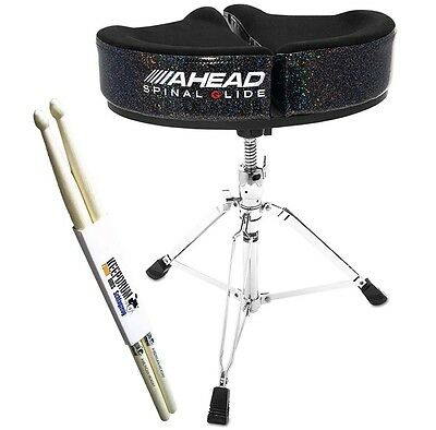 Ahead SPG-BS-3 Spinal Glide Drum-Hocker Black Sparkle + KEEPDRUM Drumsticks