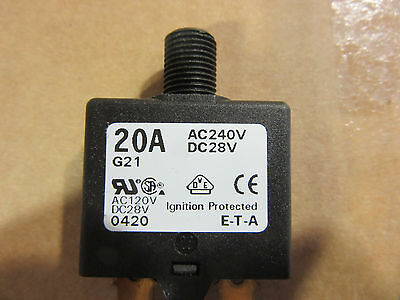 (2) E-T-A 1658-621-00-P10-20A Circuit Breaker 20A 240VAC 28VDC NEW!!! Free Ship