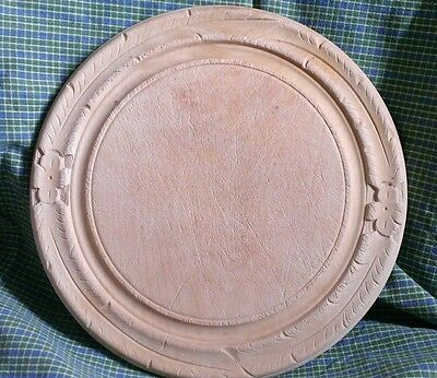 "Vintage Round Wooden Breadboard 12"" dia, carved border, by Bramhall"