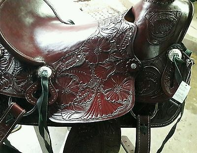 "17""western tack pleasure leather horse cowboy wade saddle headstall breastplate"