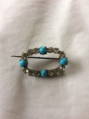 Vintage Turquoise And Paste Brooch