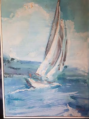 "Amazing Impressionism 1962 ""yacht In Stormy Sea"" Signed Framed"