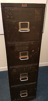 Vintage Industrial 4 Drawer Metal Filing Cabinet Green Mid Century Retro Art