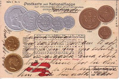Denmark - 1905 Coins and flag used embossed postcard