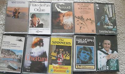 small collection of folk music cassettes.