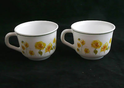 Vintage Arcopel France Milk Glass Mug Set - set of 2
