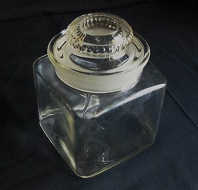 """6 1/4"""" Apothecary Candy Jar w/ Ground Glass Stopper... RX Pharmacy Drug Store.."""