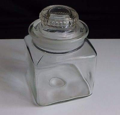 """6 1/2"""" Apothecary Candy Jar w/ Ground Glass Stopper... RX Pharmacy Drug Store.."""