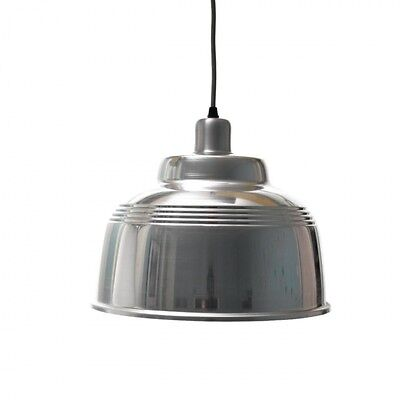 PEDLARS SILVER METAL WAREHOUSE INDUSTRIAL CAFE LAMP SHADE - PAIR of LIGHTS
