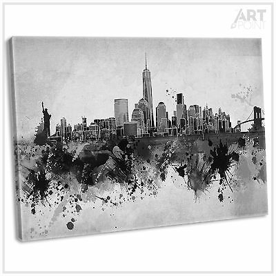 New York Skyline Abstract Black & White Canvas Print Framed Wall Art Picture
