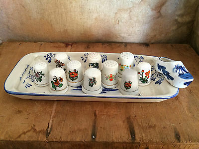 Vintage 1950's Bone China Thimbles and Tray
