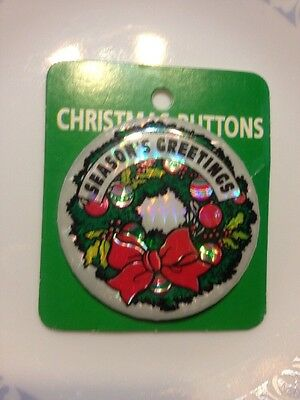 Vintage Christmas Button On Card Nos Holiday Estate Jewelry Theme