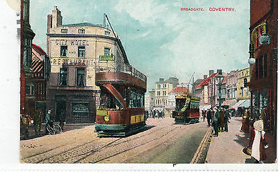 Postcard of Broadgate Coventry Warkwickshire with a Tram