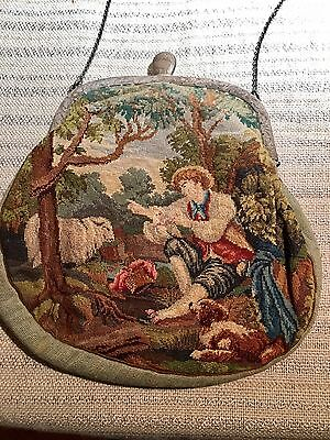 Antique Austrian Scenic Micro Petit Point Tapestry Purse Bag Sterling  Frame