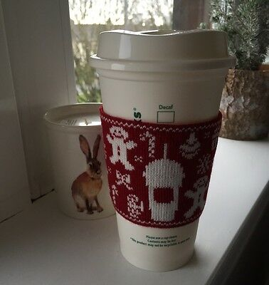 Starbucks Coffee Christmas Ugly Sweater Hot & Cold Cup Sleeve Limited Edition
