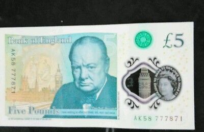 Bank Of England Polymer £5 Note Ak58