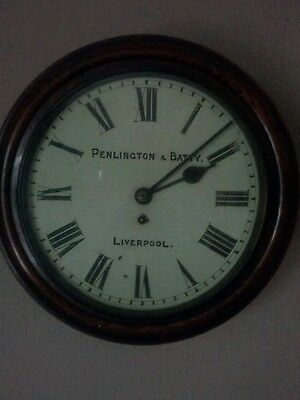 """penlington and batty liverpool single fusee station clock antique 12"""" dial"""