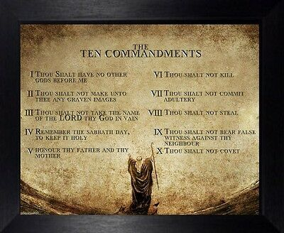 The 10 Ten Commandments Print - Black Frame - Statues Candles Crucifixes Listed