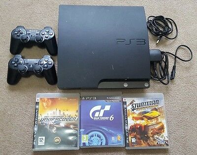 Sony PlayStation 3 Slim 120 GB Charcoal Black Console 2 Controllers (CECH-2004A)