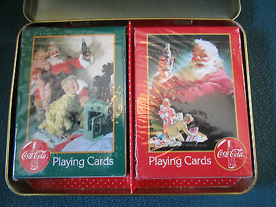 1996 Coca Cola Nostalgia Playing Cards in Christmas Tin - 2 Decks