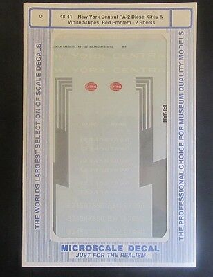 Microscale O Scale Decal 48-41 New York Central  FA-2 Diesel (2 SHEETS)