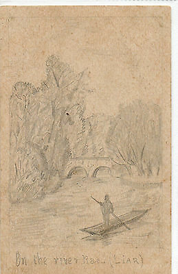 Postcard of a pencil sketch of a punt on the river Rae (Liar) Birmingham