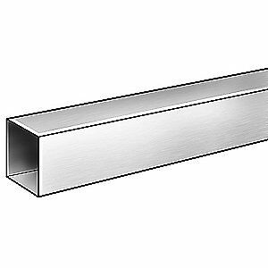 GRAINGER APPROVED Stainless Steel Sq Tube,304SS,3 OD x 2 41/64 ID Sq,6 ft, 4YUM6