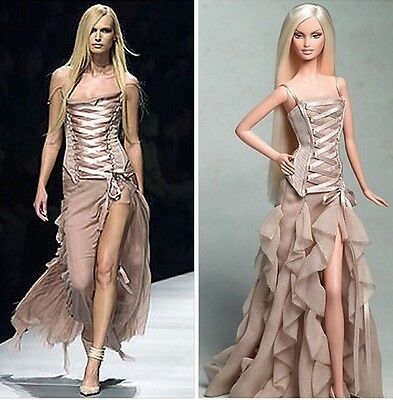 Versace ~ Barbie Doll~ Gold Label ~ 2004 ~ NRFB ~ Taupe Gown Excellent Boxed