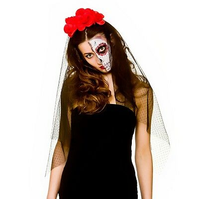 Ladies Halloween Day of the Dead Veil with Flowers Fancy Dress Accessory