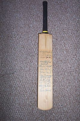 1983 Original Hand Signed Top England X1 Women's Miniature Cricket Bat