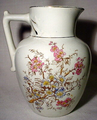 Antique Ironstone Pitcher With Flower & Foliage Transfer, Handpainted Trim