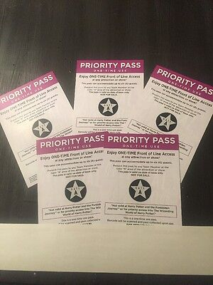 Universal Studios Hollywood Lot Of 5 Front of the Line Priority Passes Gate A