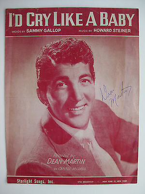 """DEAN MARTIN - Rare AUTOGRAPHED 1954 SHEET MUSIC - 9x12"""" - SIGNED - RATPACK !!"""