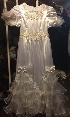 Lovely White Christmas Pageant Wedding Flower Girl Gown Girls Size 7